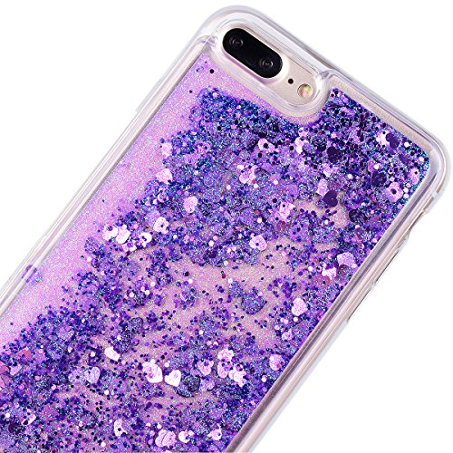 Yokata Coque iPhone 7 Plus Transparente Motif Liquide Paillettes Etui iPhone 7 Plus Silicone Souple Gel Case Bumper Antichoc Housse de Protection + 1*Stylet - Tour Eiffel Violet