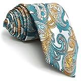 Shlax&Wing Traje De Negocios Hombre Seda Corbatas Para Multicolor Azul Cachemir Extra largo