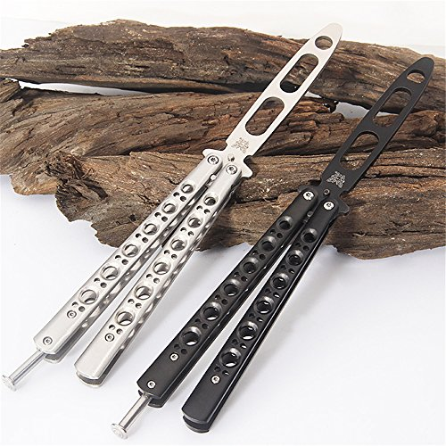Legaler Butterfly-Trainer / Balisong-Trainer Komplett Edelstahl Butterfly Balisong Knife Trainer (Silber)