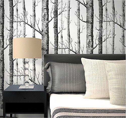 ... Hu0026M Hochwertige Non Woven Moderne Einfache 3D Schwarz Weiß Bäume  Wallpaper Wohnzimmer ...