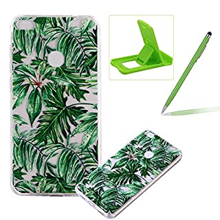 TPU Case for Huawei P8 Lite 2017,Clear Case for Huawei P8 Lite 2017,Herzzer Ultra Slim Stylish [Banana Leaves Pattern] Soft Silicone Gel Bumper Cover Flexible Crystal Transparent Skin Protective Case for Huawei P8 Lite 2017 + 1 x Free Green Cellphone Kickstand + 1 x Free Green Stylus Pen