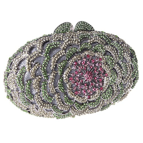 Santimon Clutch Delle Donne Fiore Borsellini Diamante Cristallo Strass Borse Da Festa di Nozze Sera Con Tracolla Amovibile 8 Colori verde