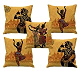 Indian style dancing girls in deferent style HD digital printed cushion covers 24x24 set of 5 with filler especially for sofa cushion | bed cushion | chair cushion by Aart