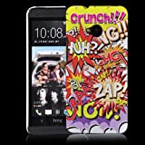 HTC One (M7 - neu smartphone 2013) Hülle Hardcase (Harte Rückseite) Hülle Cover - Comic Muster Schutzhülle für HTC One (NICHT HTC One X X+ S SV V etc.) - Weiß und Rot, Lila, Pink, Rosa, Blau und Grün