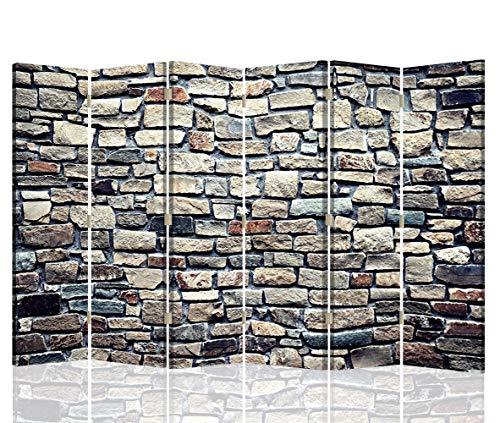 Feeby Pared divisoria Muro Piedras 6 Paneles Unilateral Abstracto Marrón 216x175 cm
