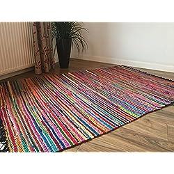 Trenzado–Alfombra (120cm x 180cm, algodón yute multicolor chindi Mat con costuras de color negro