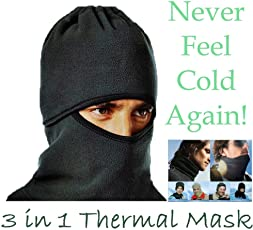NIKAVI 3 in 1 Thermo-Fleece Outdoor Sports Mask Hoodie- Keep Your Eyes, Ears, and Mouth Warm