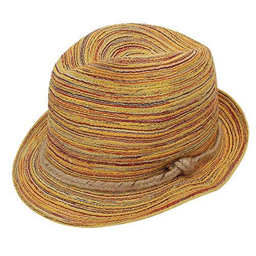 MerssavoDamen Bunt Striped Stroh Strand Sommer Sun Hüte Faltbare Cap