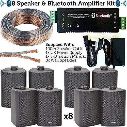 Loops Bluetooth-Lautsprecher-Set, 8 x 60 W, Wandmontage, Satelliten-/Ecklautsprecher & Verstärker, kabellose Hintergrundmusik für Pub, Club, Shop, Café, Büro