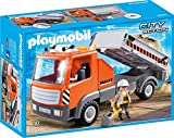 """Playmobil 6861 """"City Action Construction Flatbed Workman's Truck"""" Playset with Tilting Rear Section and workman"""