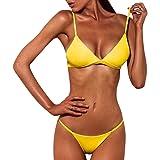 Bañador Mujer 2019 Tops de Bikini Trajes de Baño Tanga Triángulo Suave Acolchado Tops y Braguitas Conjuntos Bikinis Bañador B