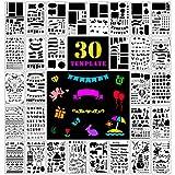 Fansteck 30 pcs Pochoir Bullet Journal Pochoir à Dessin en Plus de 1000 différents Motifs pour Notebook/Journal/Scrapbooking/Artisanat aux Enfants et Adultes avec Un Sac de Rangement