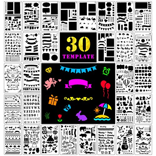 Fansteck Zeichenschablonen, 30 Stück Plus 1 Mini Pauch für Bullet Journal, Filofaxing, Kunnststoff Zeichnung Malerei Schablone für Kunst-Projekte, Scrapbooking, Fotoalbum, Weinachtskarten, Tagebuch -