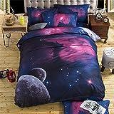 Juego de cama de la galaxia 3 o 4 pzs. (Tamaño de la reina (4pcs), galaxia-11)