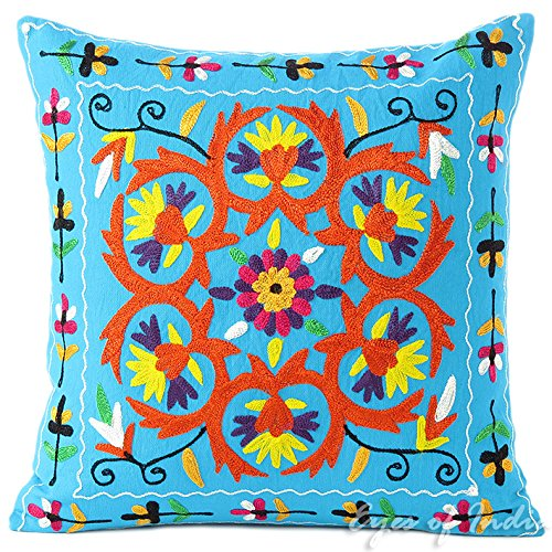 "Eyes of India - 16"" Azul bordado Sofá Decoración Funda Cobertor Almo"