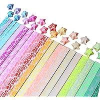 JPSOR Papel de Origami Estrella Glow (Brillante en la Oscuridad), Papiroflexia Para Manualidad, 20 Colores, 600 Hojas