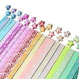 JPSOR Origami Sterne Papierstreifen Package(Glänzen in der Dunkel), 20 Farben, 600 Streifen