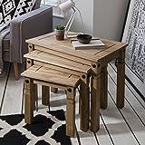 Nest Tisch Set von 3 aus massivem natur gewachst Kiefer - Satztisch Set Couchtisch Beistelltisch 3er Set