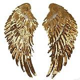 Milya Aufnäher Bügelbild Aufbügler Bügeleisen auf Patches Applikation Engel Flügel Muster 2er für T-Shirt Jeans Kleidung Taschen