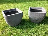 uk-gardens–Set di 2grande grigio granito effetto Garden Planter pot 34x 34x 30cm indoor outdoor