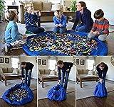 Togather® Artículo los niños juguetes bolso jugar Mat rápidamente limpieza organizador del almacenaje, multiusos portátil al aire libre manta actividades alfombra - azul