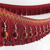 Stoffband, Läufer, 1,82 m geflochtene Perlen, hängende Kugelquaste, Fransenrand, Stoff mit Applikation - Vorhang, Tisch, Hochzeitsdeko rot