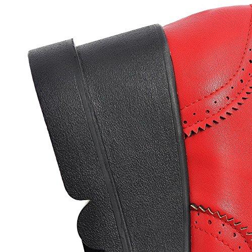 AllhqFashion Femme Matière Souple Carré Fermeture D'Orteil à Talon Correct Lacet Houppe Chaussures Légeres Rouge