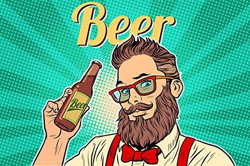 Postereck - Poster 1131 - Pop Art, Beer Mann Flasche Hipster Brille Retro bunt Größe 3:2-30.0 cm x 20.0 cm