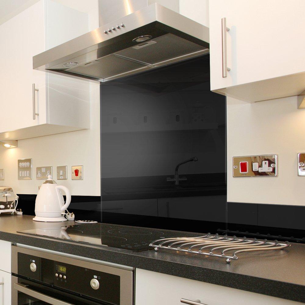 Black Splashback Kitchen Premier Range Black Heat Resistant Toughened Safety Glass