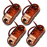 Side Light 4PCS Waterproof LED Side Marker Lights 12V/24V Amber Bright LED Side Lights for Car Truck Van Trailers Lorry