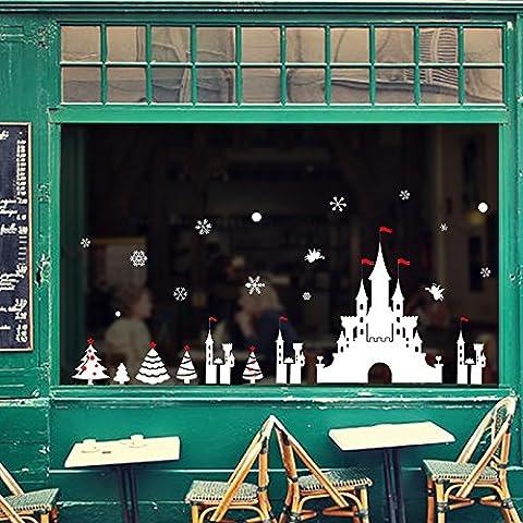XI.W.H Fenster Glas Wall Sticker animation festliche Atmosphäre Wohnzimmer Weihnachten Schloss (Festliche Zitate Für Weihnachten)