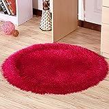Tappeto circolare europeo, soggiorno camera da letto cestino cestello comodino, poltrona girevole computer sedia tappeto stanza ( Colore : Rose red )