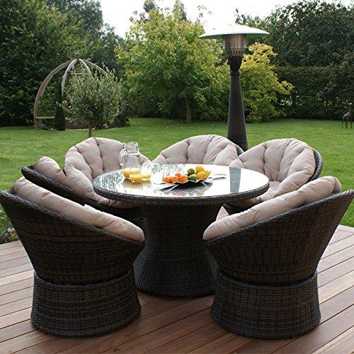 Maze Rattan Outdoor Gartenmöbel 6Sitz Braun Drehstuhl Esszimmer Set