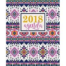 Agenda: 2018 Agenda settimanale italiano : 19x23cm : Fantasia azteca bellissimo rosa (Calendari, agende, rubriche, organizar e diari per appuntamenti)