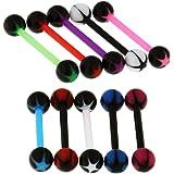10 Pezzi di Stelle insolite UV Ball con 14 Gauge Bioplast Flessibile Straight Barbell Lingua Bar Piercing