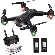 ScharkSpark Drohne Thunder mit Live-Video-Kamera, RC Quadcopter mit 2 Batterien, Einfach für Anfänger zu steuern, faltbare Arme, 2,4 G 6-Achsen, Kopflos-Modus, Höhe- halten-Funktion, Ein-Tasten-Start und -Landen, 3D-Flips und Rollen