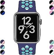 Hamile Compatibile con Apple Watch Cinturino 38mm 40mm 42mm 44mm, Due Colori Morbido Silicone Traspirante Cinturini Sportiva