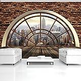 FORWALL Fototapete Vlies Tapete Moderne Wanddeko New York Fensterroseblick VEXXXL (416cm. x 254cm.) AMF2397VEXXXL Perspective