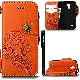 BtDuck Hülle für Samsung Galaxy S4 Mini, Ultra Slim Tasche Vintage Brieftasche Handyhülle Flip Cover Schutzhülle für Samsung Galaxy S4 Mini Cover Orange