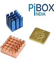 PiBOX India Raspberry PI Heatsink, Raspberry PI - 3 Piece Heavy Copper and Aluminium Heatsink Cooler Cooling Kit for Pi 3, Pi 2, Pi Model 3B+