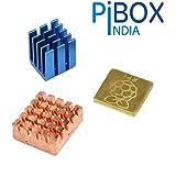 PiBOX India Raspberry PI Heatsink, Raspberry PI - 3 Piece Heavy Copper and Aluminium Heatsink Cooler Cooling Kit for Pi…