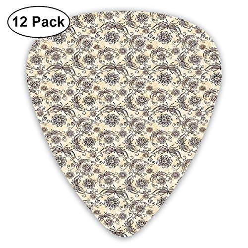 Guitar Picks12pcs Plectrum (0.46mm-0.96mm), Nature Composition With Ornamental Lines Swirls Circles Abstract Flora And Fauna,For Your Guitar or Ukulele (Nails Halloween Swirl)