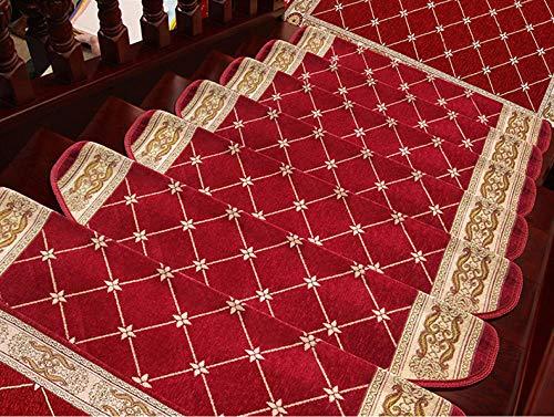 Hochwertige Treppenmatte Treppenstufenmatte Europäische Teppich kleberfrei selbstklebend Massivholz rutschfest Fußmatte Classic {2St}, rot_24cm * 80cm