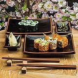 Japanische Sushi-Teller Mit Sauce Teller Und Stäbchen In Schwarz Tenmoku Glasur...