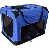Hundetransportbox Hundebox faltbar Transportbox Autotransportbox Faltbox Transportasche 601-D01 royal blau Grösse: XL - 81cm x 58cm x 58cm