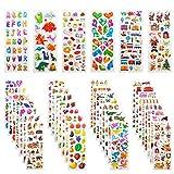 Leenou Pegatinas para Niños, 950+ 3D Puffy Sticker Variedad de Pegatinas para Regalos Gratificantes Scrapbooking Que Incluye Animales, Peces, Dinosaurios, Números, Frutas, Aviones y Más ( 36 Hojas )