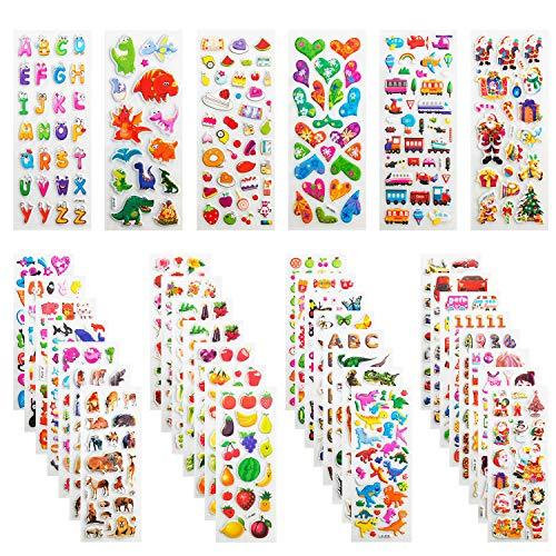 Leenou 3D Aufkleber für Kinder & Kleinkinder, 950+ Geschwollen Stickers für Jungen Mädchen Lehrer, Niedliche Verschiedene Set Buchstab en, Tier, Obst, Zahlen, Fische, Dinosaurier ( 36 Bogen )