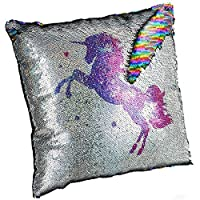 meowtastic Sequin Cushions, Unicorn Reversible Sequin Cushion Pillow with Filling, 40x40 cm Flippy Pillow, Birthday Gifts for Girls Of All Ages