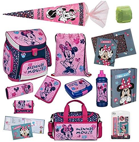 Familando Scooli Schulranzen-Set rosa Disney Minnie Maus 17 tlg. mit Federmappe, Sporttasche, große Schultüte 85cm, Freundebuch und Regenschutz