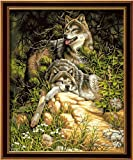 Diy oil painting, paint by number kits- Wolf Love 16*20 inches. by Colour Talk
